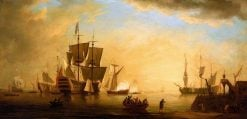 An English Flagship and Other Vessels Becalmed at Sun Down | Peter Monamy | oil painting