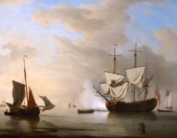 An English Ship Becalmed | Peter Monamy | oil painting