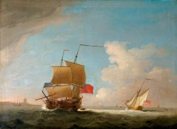 English Men o War and Other Shipping off the Coast | Peter Monamy | oil painting