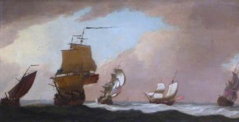 Four British Warships and a Fishing Smack in a Strong Wind | Peter Monamy | oil painting