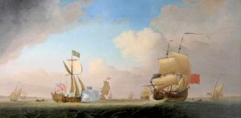 King George II in the Royal Yacht on a Return from Hanover | Peter Monamy | oil painting