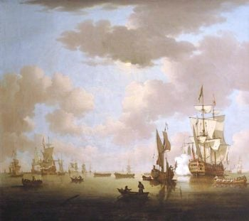 Seacape with Ships and Boats | Peter Monamy | oil painting