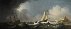 Shipping in a Stormy Sea off a Castle | Peter Monamy | oil painting