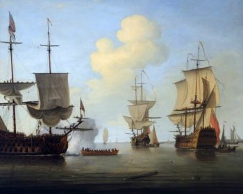 Shipping Scene with a Laden Man o War | Peter Monamy | oil painting