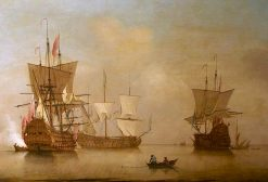 Three English Flagships Becalmed | Peter Monamy | oil painting