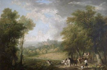 View of Windsor from the Forest with Travellers in a Horse - Drawn Cart | Arthur James Stark | oil painting