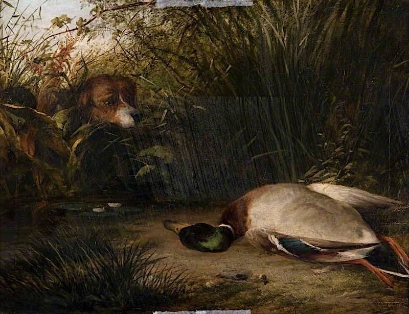 A Pointer and a Dead Wild Duck | Arthur James Stark | oil painting