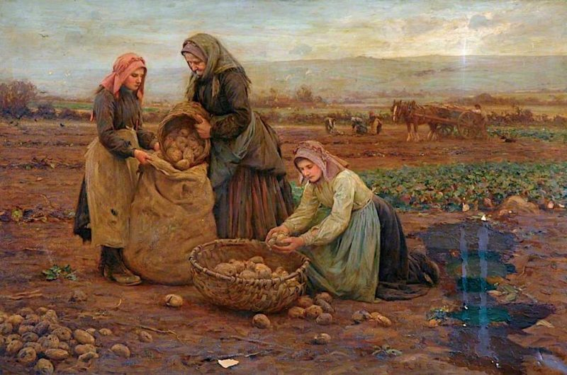 The Potato Pickers   Ernest Higgins Rigg   oil painting