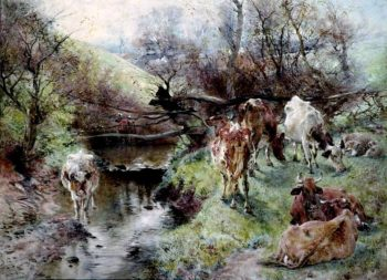By the Stream | William Huggins | oil painting