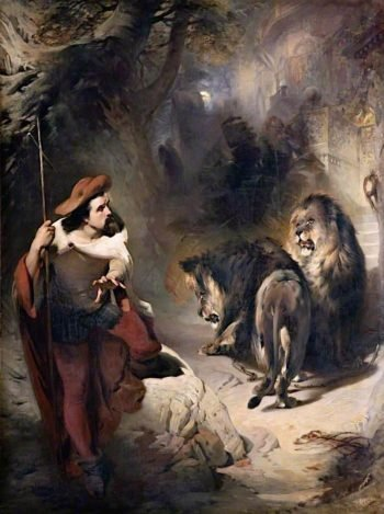 Christian and the Lions | William Huggins | oil painting