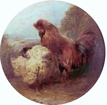 Cock and Hen | William Huggins | oil painting