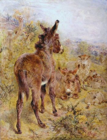 Donkeys and Sheep in a Landscape | William Huggins | oil painting