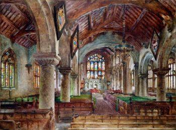 Interior of Bebington Church | William Huggins | oil painting