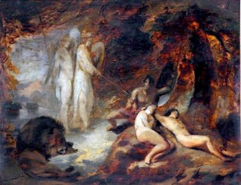 The Angels Ithuriel and Zephon Finding Satan at the Ear of Eve | William Huggins | oil painting