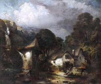 The Water Mill   William Huggins   oil painting
