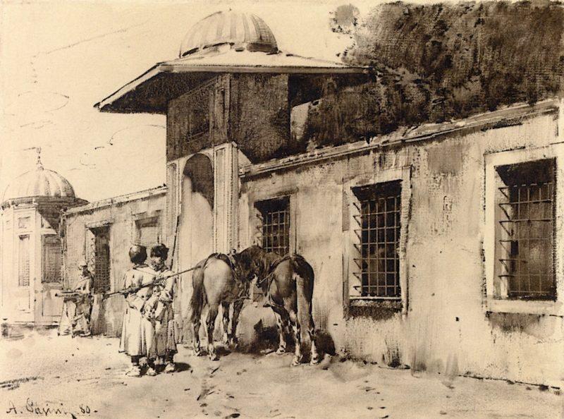 Circassian Cavalrymen outside a Gate   Alberto Pasini   oil painting