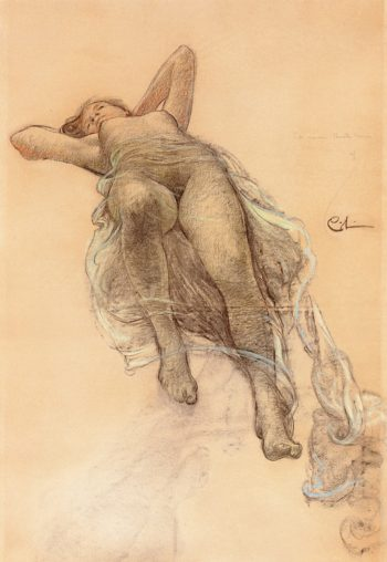 Allegory of Fame -  A sketch for the ceiling of the Stockholm Opera House | Carl Larsson | oil painting