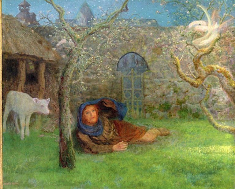 Caedmons Awakening | Arthur Hughes | oil painting