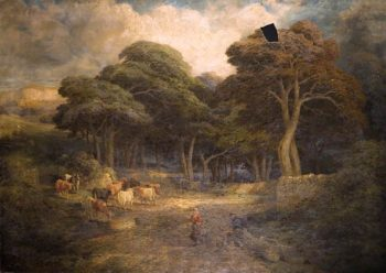 Landscape with Cattle and Women Feeding Hens | Edward Hargitt | oil painting