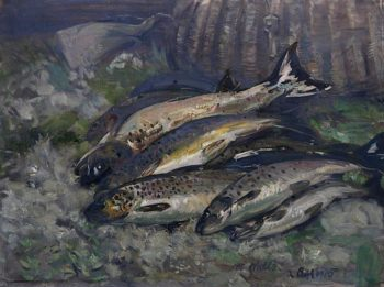 A Basket of Trout | William Walls | oil painting
