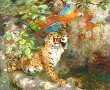A Jaguar and Macaws | William Walls | oil painting