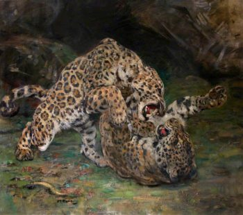 Jaguars at Play | William Walls | oil painting