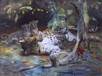 Leopardess with Cubs | William Walls | oil painting