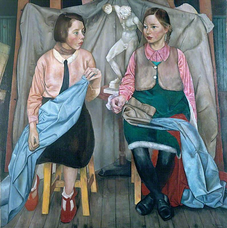 Two Schoolgirls | James Cowie | oil painting