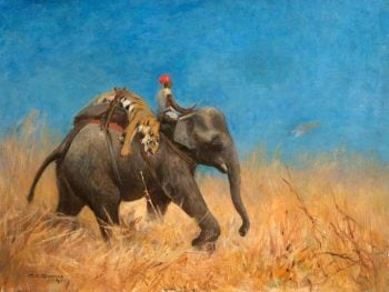 Elephant with Dead Tiger   Cuthbert Edmund Swan   oil painting