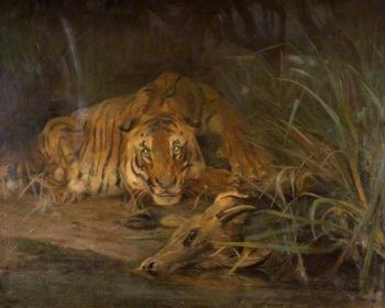 Tiger and Prey | Cuthbert Edmund Swan | oil painting