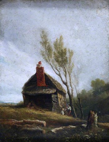 Landscape -  A Cottage with Trees and Two Children | William Mulready | oil painting