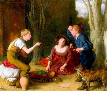 The Butt -  Shooting a Cherry | William Mulready | oil painting