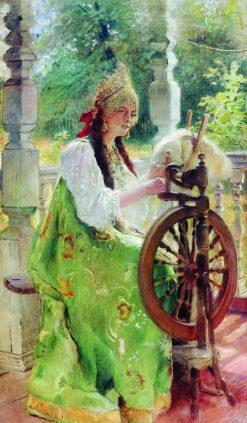The Spinner | Konstantin Yegorovich Makovsky | Oil Painting