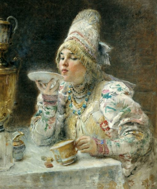 Woman Drinking Tea | Konstantin Yegorovich Makovsky | Oil Painting