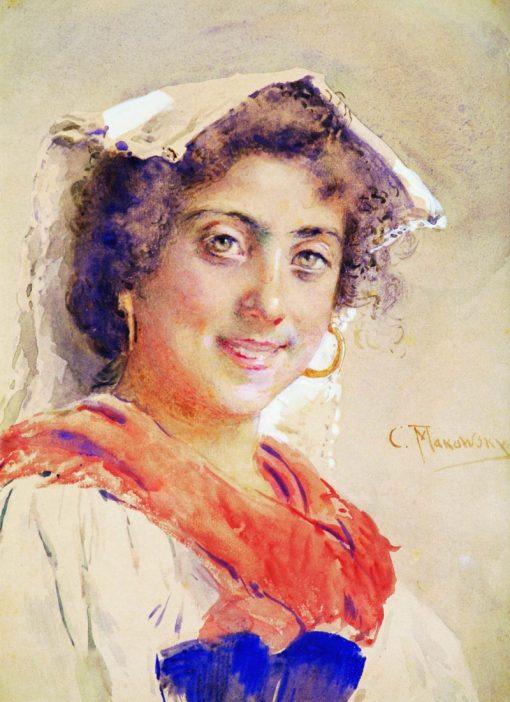 Italian Woman   Konstantin Yegorovich Makovsky   Oil Painting