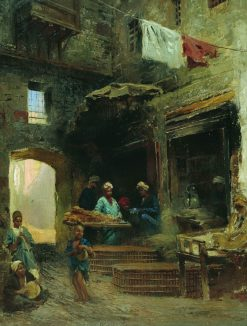 A Cairene Courtyard | Konstantin Yegorovich Makovsky | Oil Painting