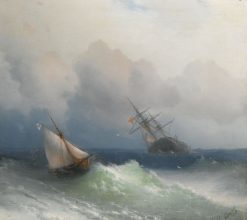 Two Ships at Sea | Ivan Constantinovich Aivazovsky | Oil Painting