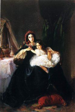 Portrait of Countess Rzhevusskaya with Her Daughter | Konstantin Yegorovich Makovsky | Oil Painting