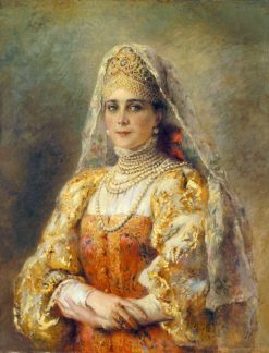 Portrait of Countess Yusupova in the Russian Costume | Konstantin Yegorovich Makovsky | Oil Painting