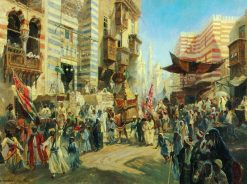 Carrying the Holy Carpet in Cairo | Konstantin Yegorovich Makovsky | Oil Painting