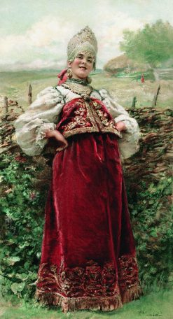 By the Fence | Konstantin Yegorovich Makovsky | Oil Painting
