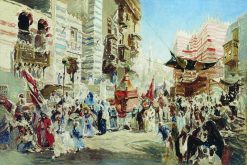 Carrying the Holy Carpet in Cairo (study) | Konstantin Yegorovich Makovsky | Oil Painting
