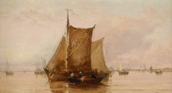 A Barge on the Texel | James Webb | Oil Painting