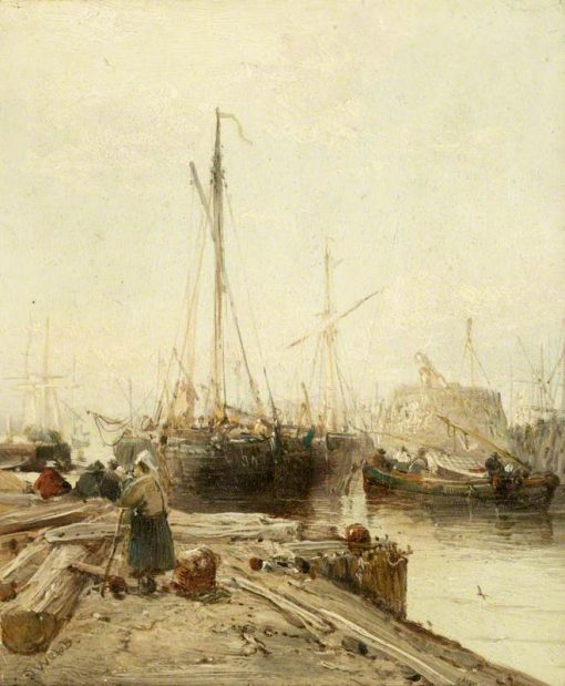 A Quay with Shipping | James Webb | Oil Painting