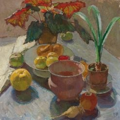 Still Life with Pots of Flowers and Apples | Carl Julius Rudolf Moll | Oil Painting