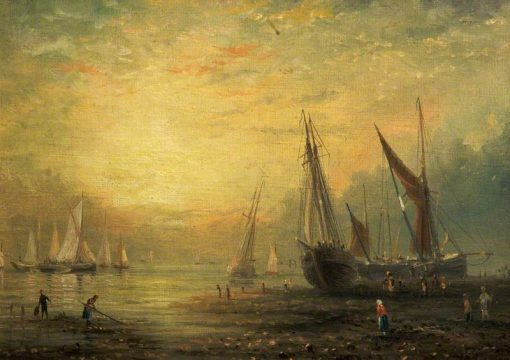 A Seascape with Yachts at Sunset | James Webb | Oil Painting