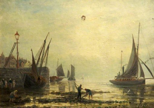A Seascape with Yachts from a Harbour | James Webb | Oil Painting