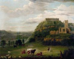 View of Nottingham Castle with St Nicholas Church and Houses | Paul Sandby