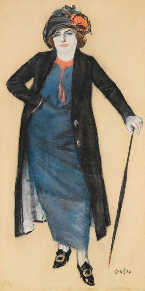 Elegant Lady with a Parasol | Leo Gestel | Oil Painting