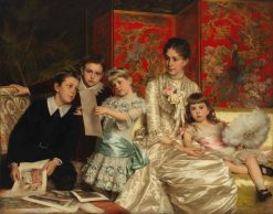 Cornelia Ward with Her Children | Michele Gordigiani | Oil Painting